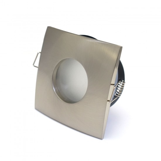 Bathroom Square Downlight IP44 Waterproof Rated Spotlight GU10 Satin Chrome