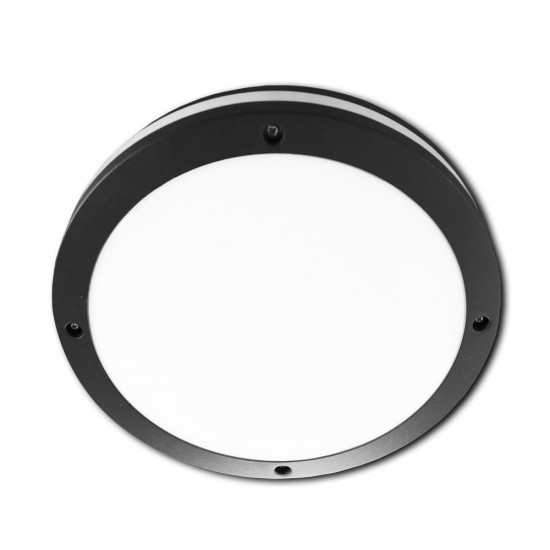 Aluminium Bulkhead Light IP65 Black Frosted Opal Diffuser