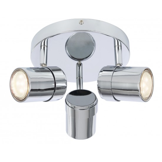 Contemporary 3 Way Chrome Round GU10 Ceiling Spotlight Light by UKEW®