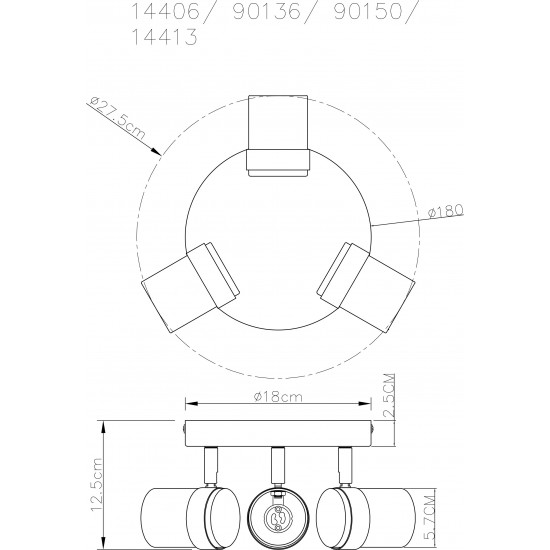 Contemporary 3 Way Satin & Chrome Round GU10 Ceiling Spotlight Light by UKEW®