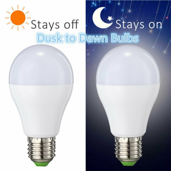E27 Dusk to Dawn Bulb Light Sensor Auto On/Off 7W LED Energy Saving Ball Bulb