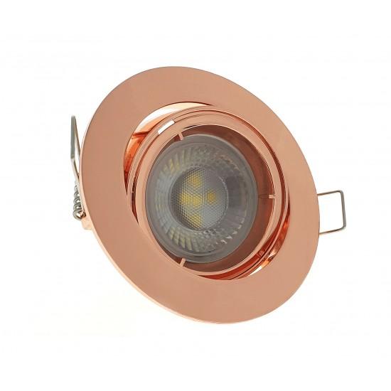 GU10 Ceiling Downlight Spotlight Tilt Adjustable Rose Gold Finish