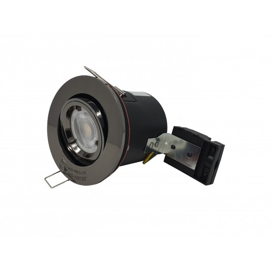 GU10 Fire Rated Round Recessed Ceiling Twist Lock Downlight Tilt Adjustable - Black Chrome