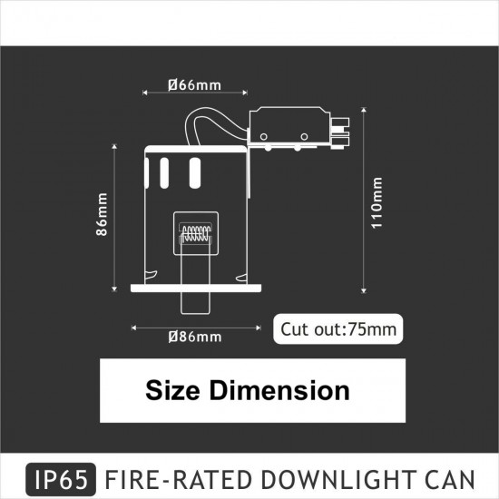 IP65 Fire Rated GU10 Downlight Spotlight - Satin