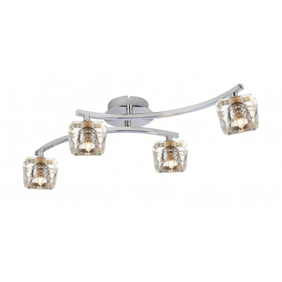 Flush Double Arm Crystal Glass 4 Way Ceiling Chrome Light