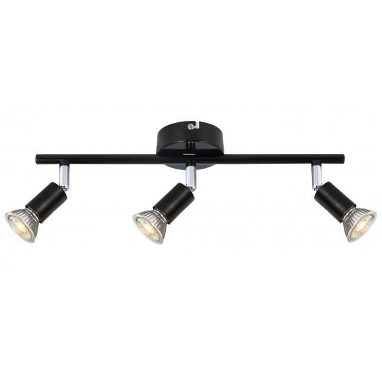 GU10 Black 3 Way Ceiling Straight Bar Spotlight Light Fitting