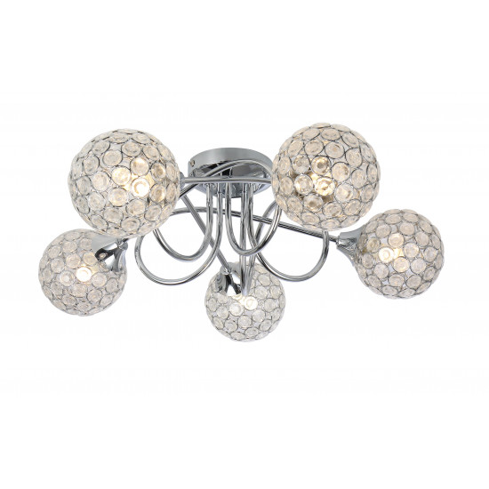 Modern Polished Chrome 5 Way Flush Ceiling Light Fitting Round Sphere Jewel Shade