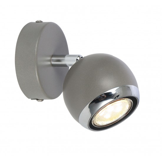 Single Round Ball Wall Or Ceiling GU10 Spotlight - Grey