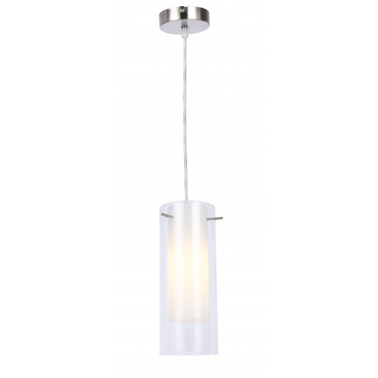 New Double Duo Clear and Frosted Glass Shade Ceiling Pendant Light
