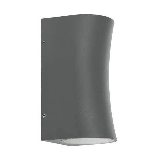 Outdoor IP54 Cylinder Curved  GU10 Wall Up Down Light Grey Finish