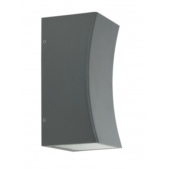Outdoor IP54 Square Curved  GU10 Wall Up Down Light Grey Finish