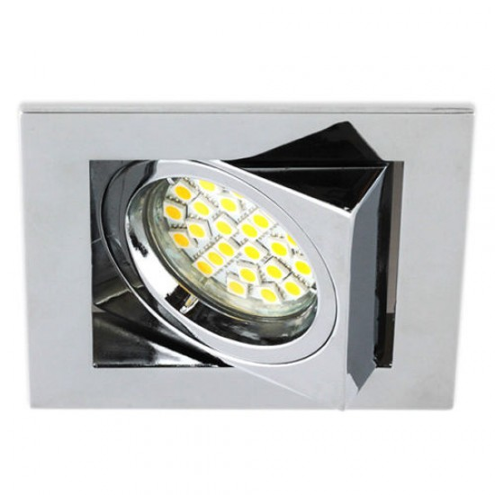 Polished Chrome Twist Lock Square Downlight Tilted GU10 Spotlight 240V, UKEW®