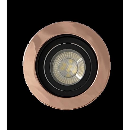 Premium Ceiling GU10 Round Tilt Downlight Spotlight in Rose Gold Copper Edge Finish
