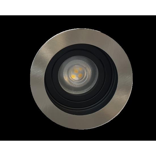 Premium Ceiling GU10 Round Tilt Downlight Spotlight in Satin Edge Finish