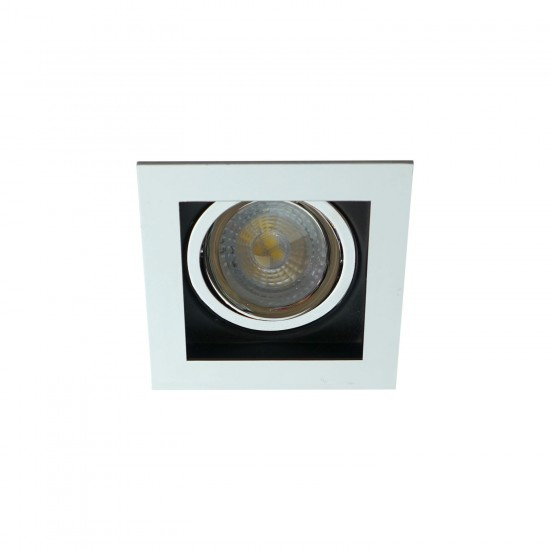 Premium Square Tilt GU10 Downlight Spotlight Chrome and Black Finish