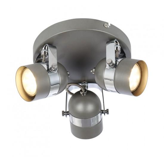 Retro Type GU10 3 Way Round Base Ceiling Spotlight Grey and Chrome Finish