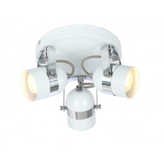 Retro Type GU10 3 Way Round Base Ceiling Spotlight White and Chrome Finish