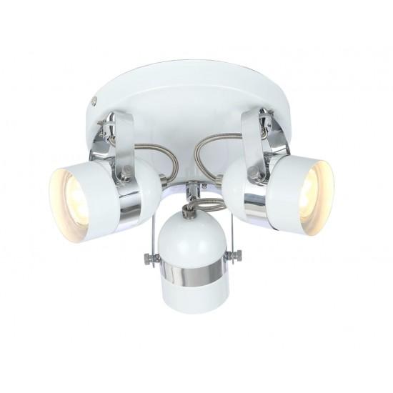 Retro Type GU10 3 Way Round Base Ceiling Spotlight White and Chrome Finish
