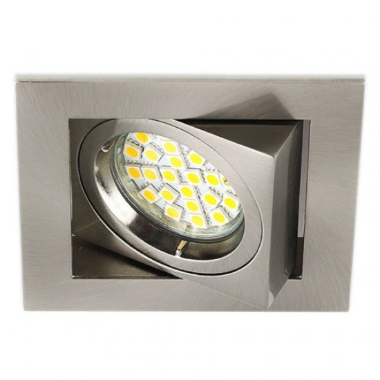 Satin Chrome Twist Lock Square Downlight Tilted GU10 Spotlight 240V - UKEW®