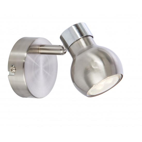 Single Wall/Ceiling Retro Ball Chrome and Satin GU10 Light Fitting