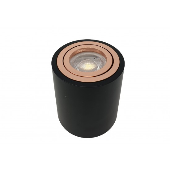 Surface Mount Ceiling Round GU10 Downlight Spotlight Black and Rose Gold Finish