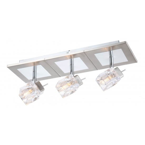 Triple 3 Way Upright Double Glass Cubed Interior Wall Light