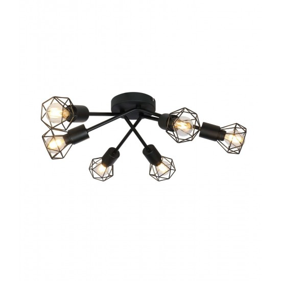 6-Light LED Ceiling Spotlight Kitchen Bedroom Retro Cage Shade E14 Fitting