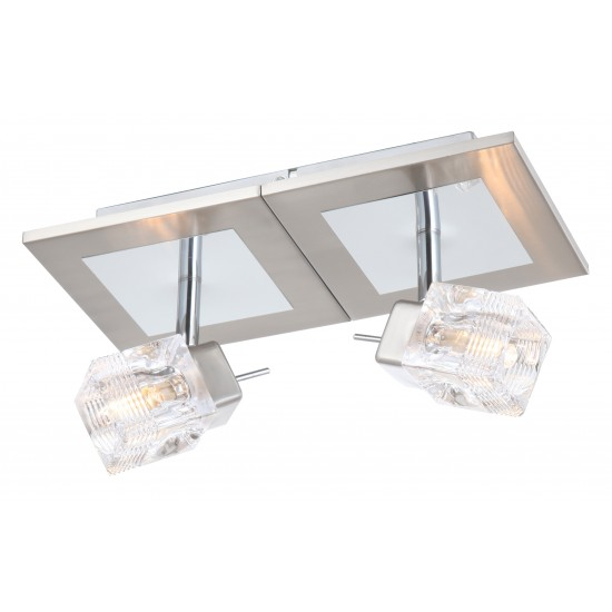 Twin Upright Double Glass Cubed Interior Wall Light