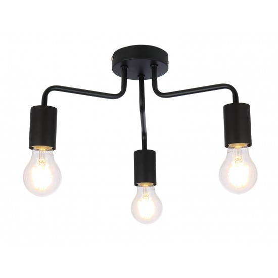 Vintage 3 Way Arm Ceiling Light Flush Mount in Black Finish