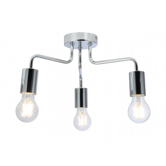 Vintage 3 Way Arm Ceiling Light Flush Mount in Chrome Finish