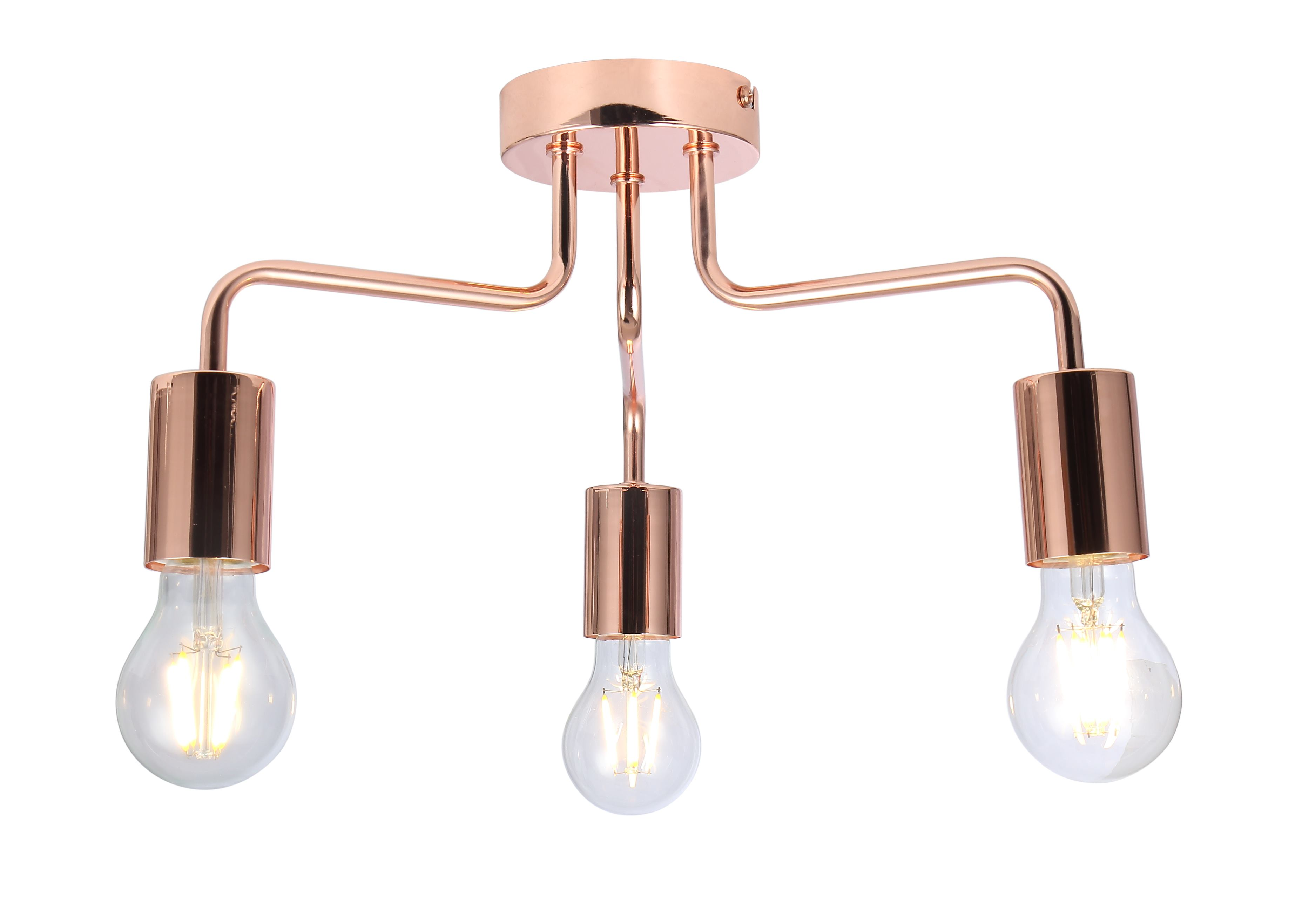 Picture of: Vintage 3 Way Arm Ceiling Light Flush Mount In Copper Finish