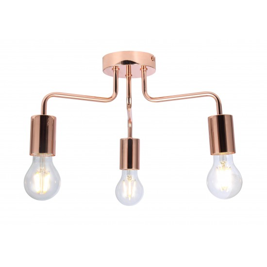 Vintage 3 Way Arm Ceiling Light Flush Mount in Copper Finish
