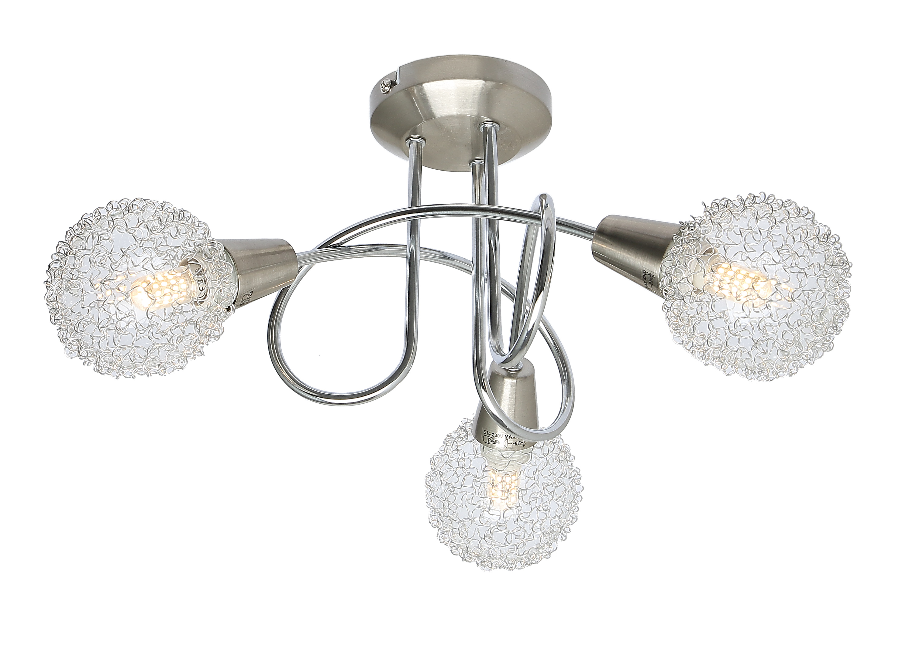 Globe mesh nickelsatin chrome 3 way round ceiling spotlight by ukew globe mesh nickelsatin chrome 3 way round ceiling spotlight by ukew ukew 1990 by ukew aloadofball Image collections