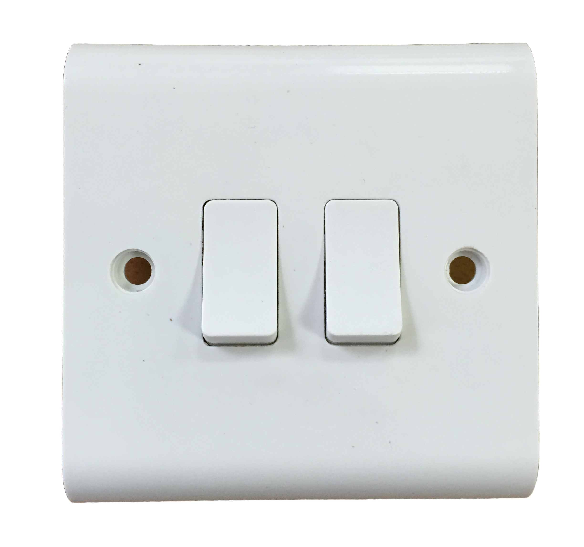 2 Gang Light Switch 1 Or Way White 10A Beveled SCREW COVER